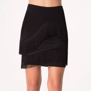 Bebe gorgeous black fringed mini skirt size small